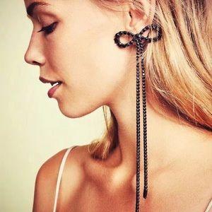 Just In🎉 Black Rhinestone Bow Knot Long Earrings